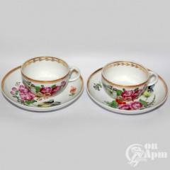 """Две чайные пары """"Цветы"""""""